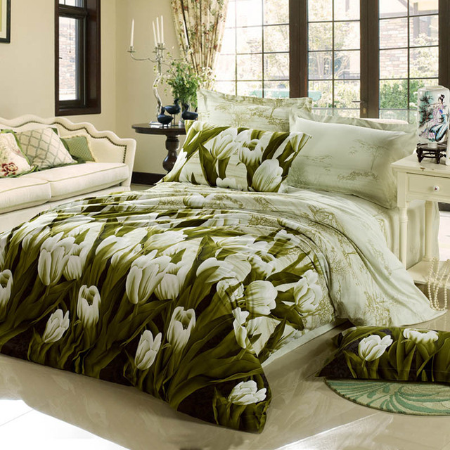 fashion soft warm sanding 4pcs pastel tulip 3d bedding set army green home design full queen