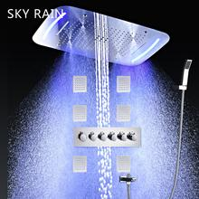 SKY RAIN Bathroom Accessories Luxury Style Thermostatic Mixer Valve Large LED Shower Faucet Multi Function Set With Jets