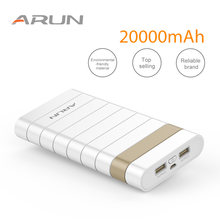 ARUN 20000 mah Power Bank Externe Batterij PowerBank 2 USB Powerbank Draagbare Mobiele telefoon Oplader voor Xiaomi Samsung iphone XS(China)