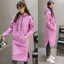 Women Fashion Loose Solid Cashmere Thickened O-neck Spring Autumn Winter Hoodie Coat XHSD-2009
