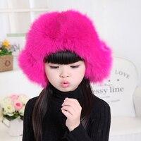 Fashion Children Real Fox Fur Leifeng Hat Autumn Winter Season Baby Warn Ears Fox Fur Hat Kids Solid Color Fur Bomber Caps H#09