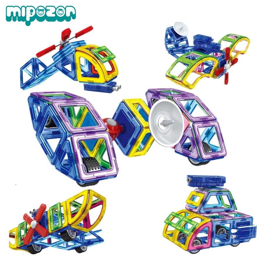 MIPOZOR 88Pcs 2017 New Magnetic Designer Building 3D Blocks Kids Educational Assembling Toys Aircraft Helicopter DIY
