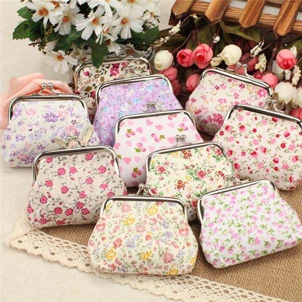 Fresh Flower Decoration Women Bag Cotton Fabric Coin Purse Key Case Cute Holiday Gift Wedding Favors