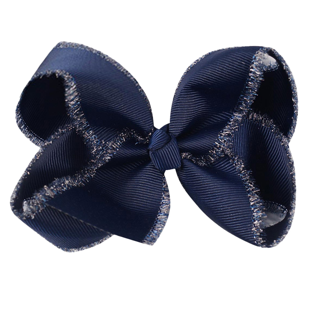 2PCS Handmade Solid Large Bow Hair pin For Girls Kids  Glitter Edge Headwear
