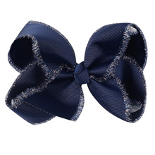 2PCS Handmade Solid Large Bow Hair pin For Girls Kids  Glitter Edge Headwear