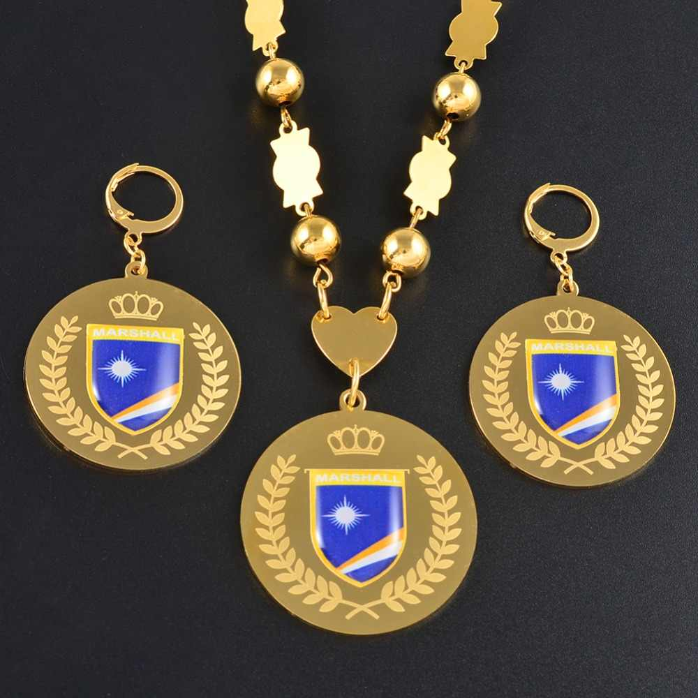 Anniyo Marshall Jewelry sets Flag Pendant & Big Earrings Round Ball Beads Chain Necklaces Marshallese Jewellery #071721