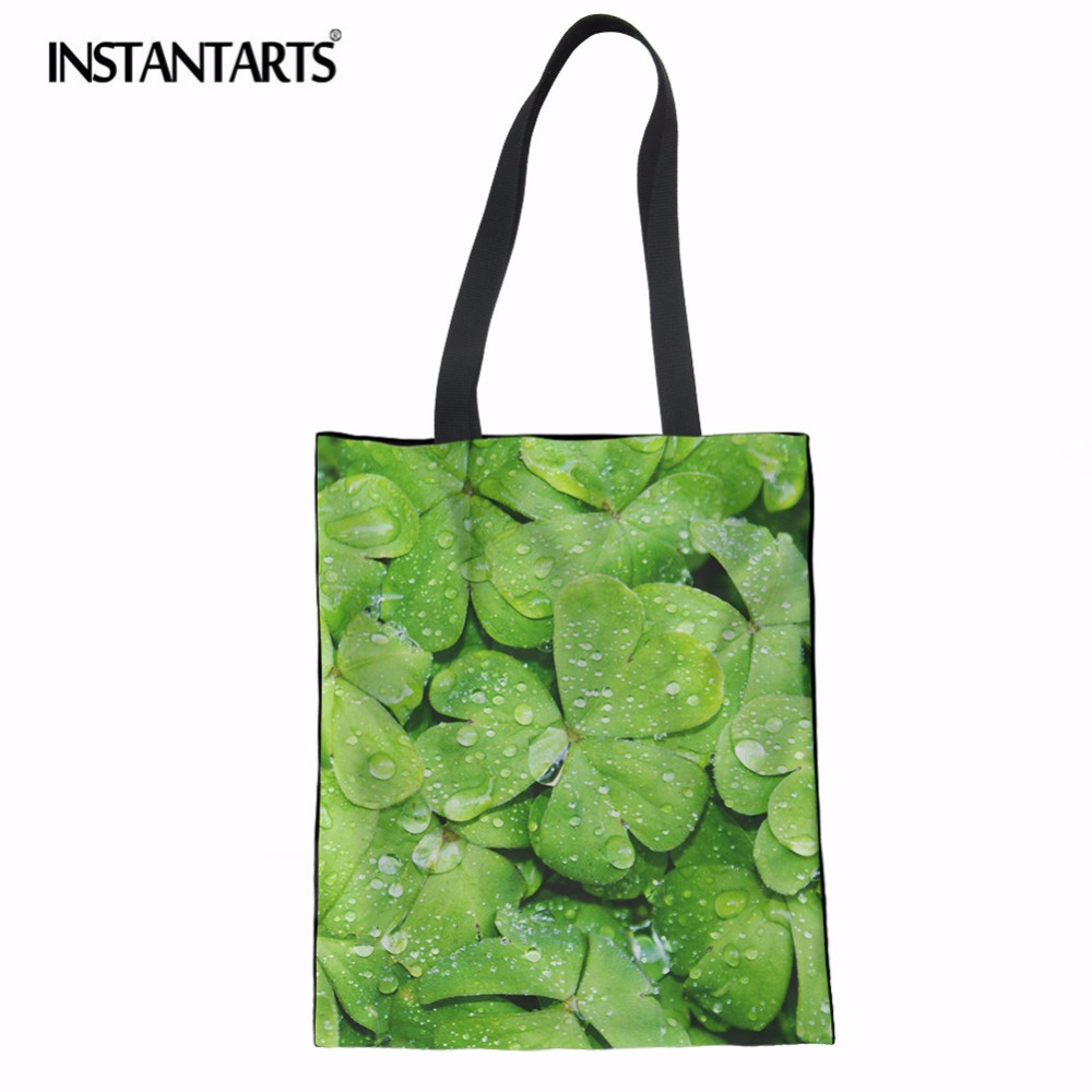 3D Leaf Printed Linen Tote Bags Foldable Shopping Bags Ladies Canvas Shoulder Bags Mujer