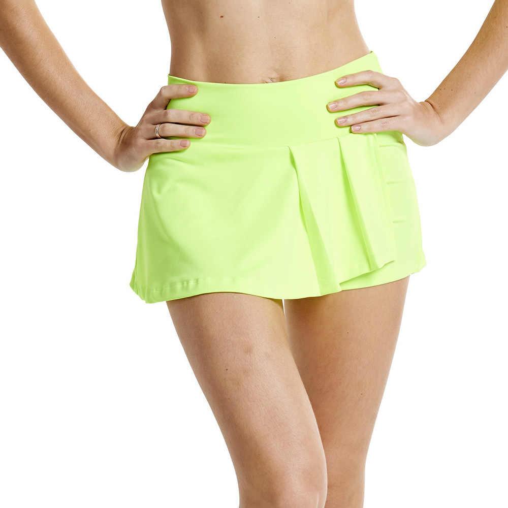 Lefan spódnica damska aerobik to dobry wybór tenis Skort kombinezon cheerleaderek występy taniec ubrania sportowe Pantskirt spódnice dla dziewczynek
