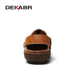 Image 3 - Мужские сандалии из сплит кожи DEKABR, коричневая летняя пляжная повседневная обувь, воздухопроницаемые туфли ручной работы для мужчин, лето 2019