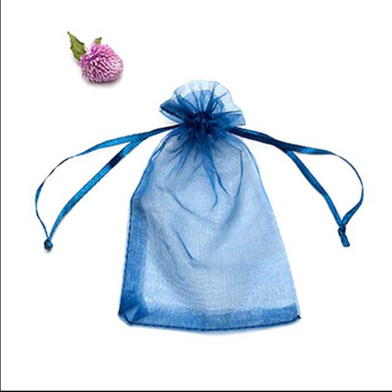 100 sztuk biżuteria prezent torba torby z organzy opakowania przezroczyste party szuflady ślubne obecne jewel cukierki dziękuję 7x9 9x12