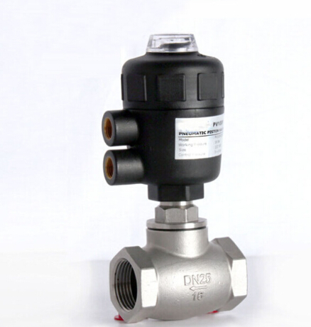 1 inch 2/2 way pneumatic globe control valve angle seat valve normally closed 63mm PA actuator globe valve 2 way nc 1 1 2 in f npt
