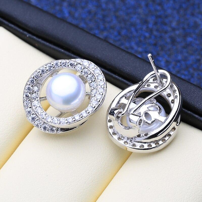 MITUO Pearl Jewelry 925 sterling silver big stud earrings women wedding jewelry...