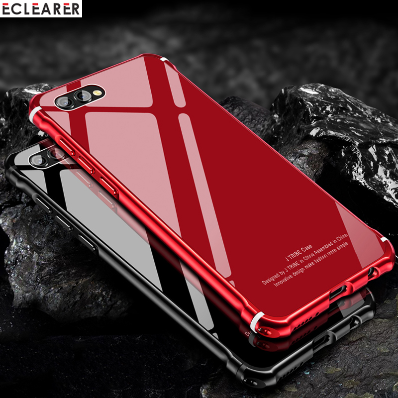 Metal Case Huawei Honor V10 View 10 Glass Case Cover Thin Back Case For Huawei Honor View 10 Metal Bumper Tempered Glass Coque iPhone XS