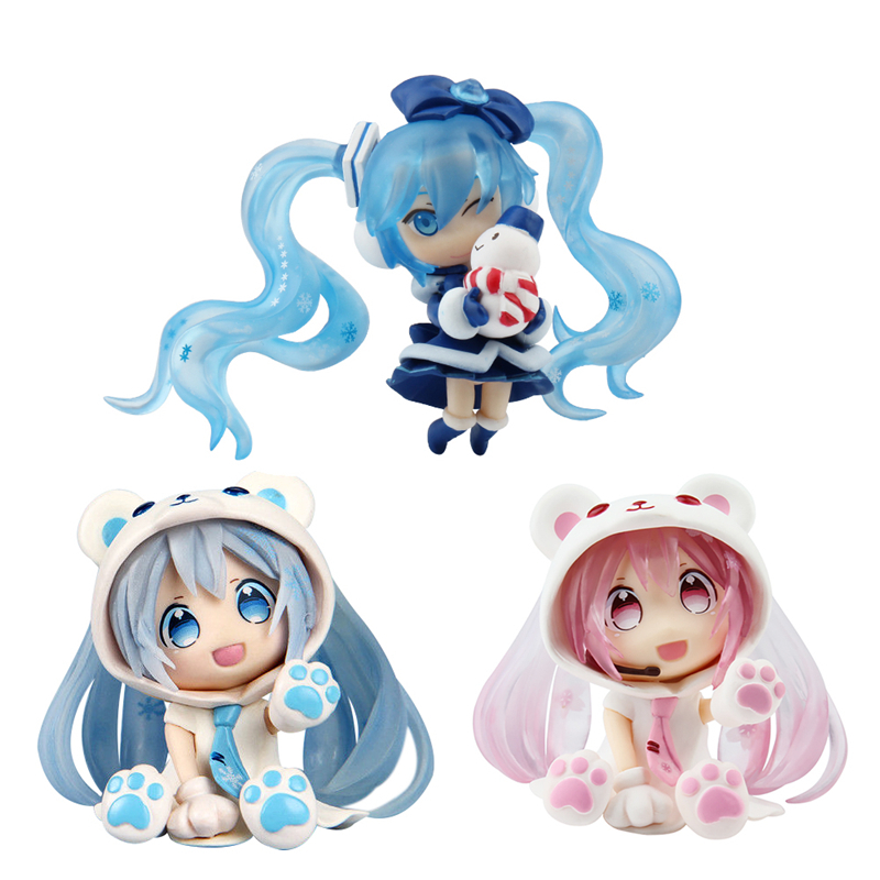 Japan Nendoroid Figma Anime Hatsune Miku Figure White Bear Snow Miku Q Ver. Collectible Brinquedos Kids Toys Juguetes hatsune miku nendoroid black rock shooter klinge miku pvc action figure anim q version of the 3 educational toys
