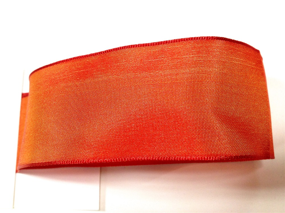 N2023 38mm X 25yards Wired Edges Solid Orange Taffeta Ribbon . Gift Bow,wedding,cake Wrap,tree Decoration,wreath