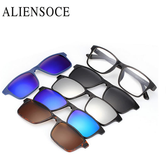 f17823e081f 5pc set Magnetic Clip Sunglasses Women Glasses with Magnetic Clip on Sunglasses  Polarized For Male Multi-Purpose Eyewear
