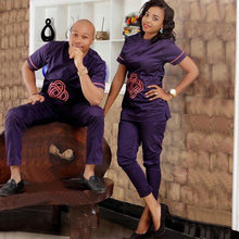 south africa couple clothes african dresses for men and women dashiki clothing bazin riche tops set pant beautiful cheap suits(China)