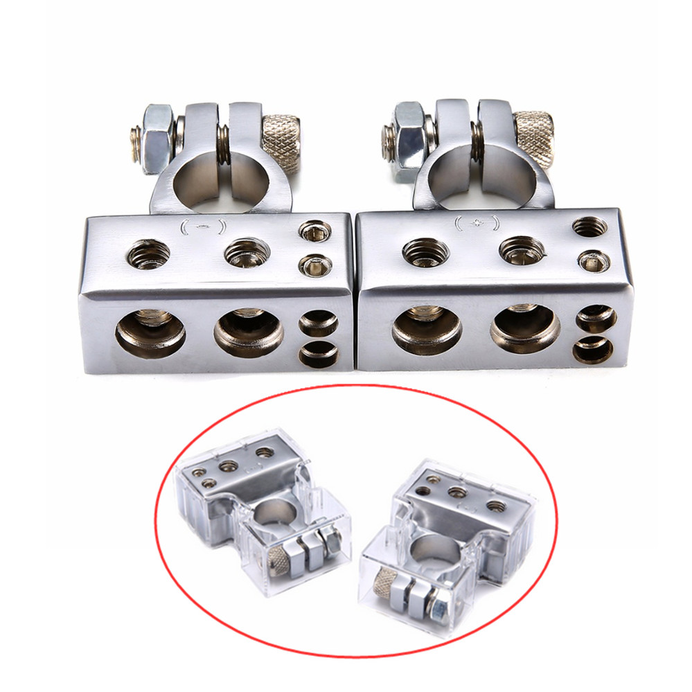 1 Pair Car Battery Terminal Set Silver 2 4 8 Gauge AWG Positive & Negative Battery Clamp Terminals for Audio Technology raptor r5bt2nsn battery terminals platinum battery terminals negative
