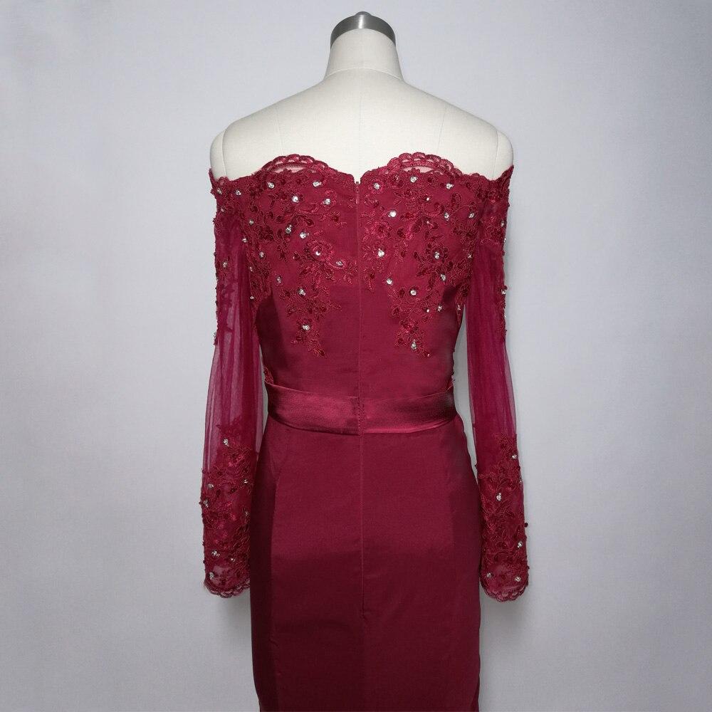 JIERUIZE bordeaux sirène robes de bal longue épaule manches longues robes de soirée formelle robes de soirée abendkleider - 5
