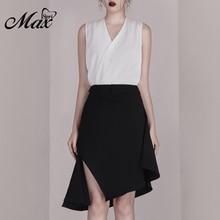 цена на Max Spri 2019 New Women Two Piece Sets Fashion V Neck Sleeveless White Top Sexy Office With Midi Black Skirt Casual Sets