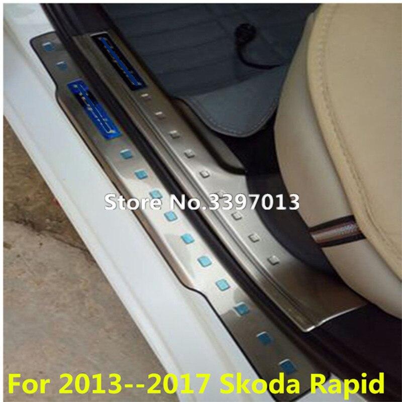 Stainless steel External door sill Internal Scuff Plate Car accessories For 2013 2017 Skoda Rapid