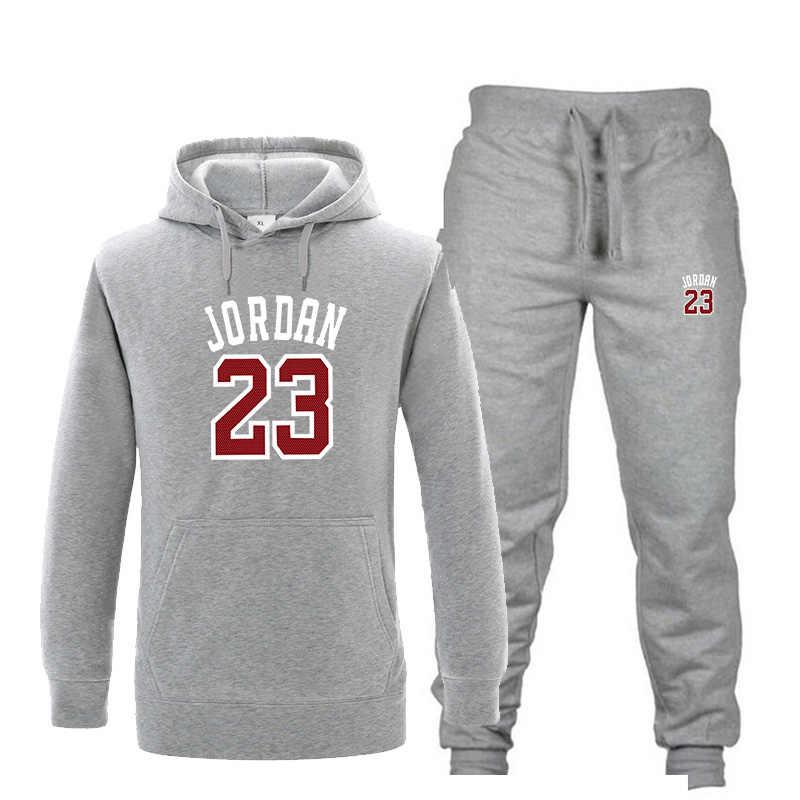 Новый спортивный костюм Мужская мода JORDAN 23 толстовка костюм Мужская  спортивная одежда комплект из двух предметов 4ffbfba0303
