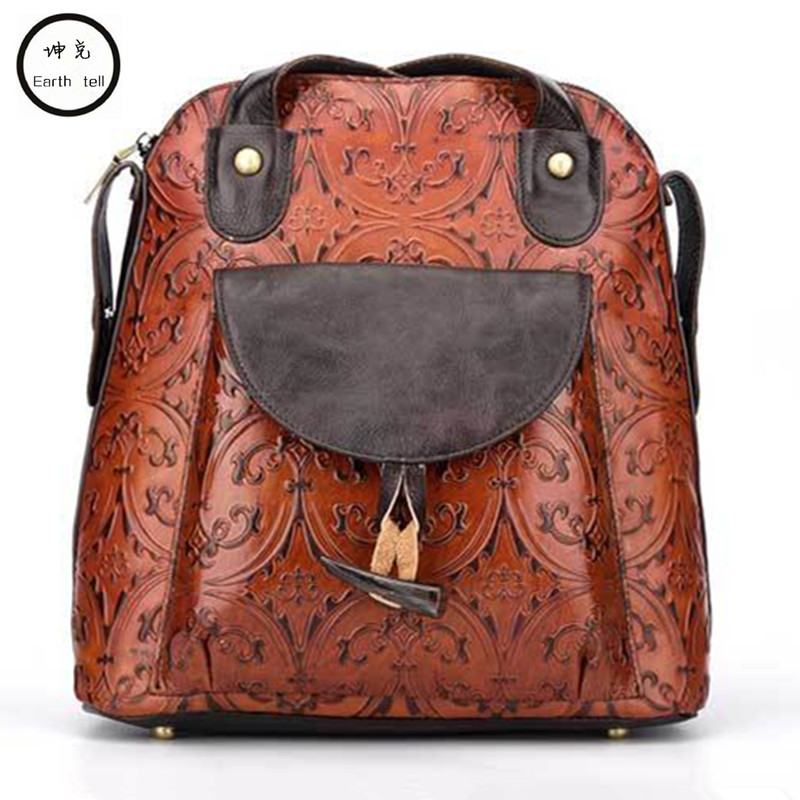 Retro flowers woman backpack 100% genuine cow leather high quality female shoulder duffel embossed bag school travel Laptop bags 100% genuine leather backpack large capacity cow leather travel bags high quality business bag for man women vintage laptop bag
