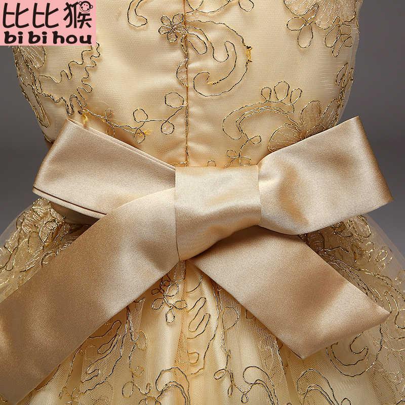 cafb9bc51afd ... 2018 Baby Girls Infant Embroidery Dress kids Gold Wedding Toddler High-end  Dress Flower Vestidos