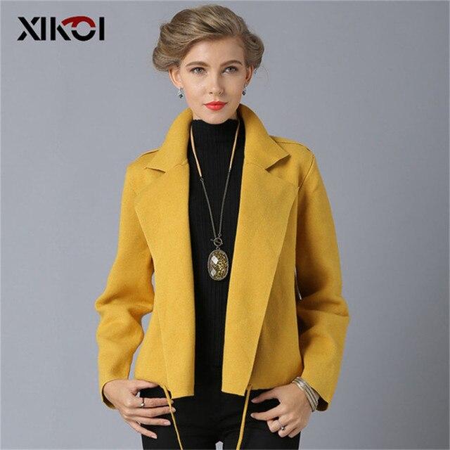XIKOI Free Size Thời Trang Ngắn cho Nữ Áo Len 5 Màu Thu Lưng Rời Cổ Tim Phối Nữ Dệt Kim Cardigan Áo Len Áo