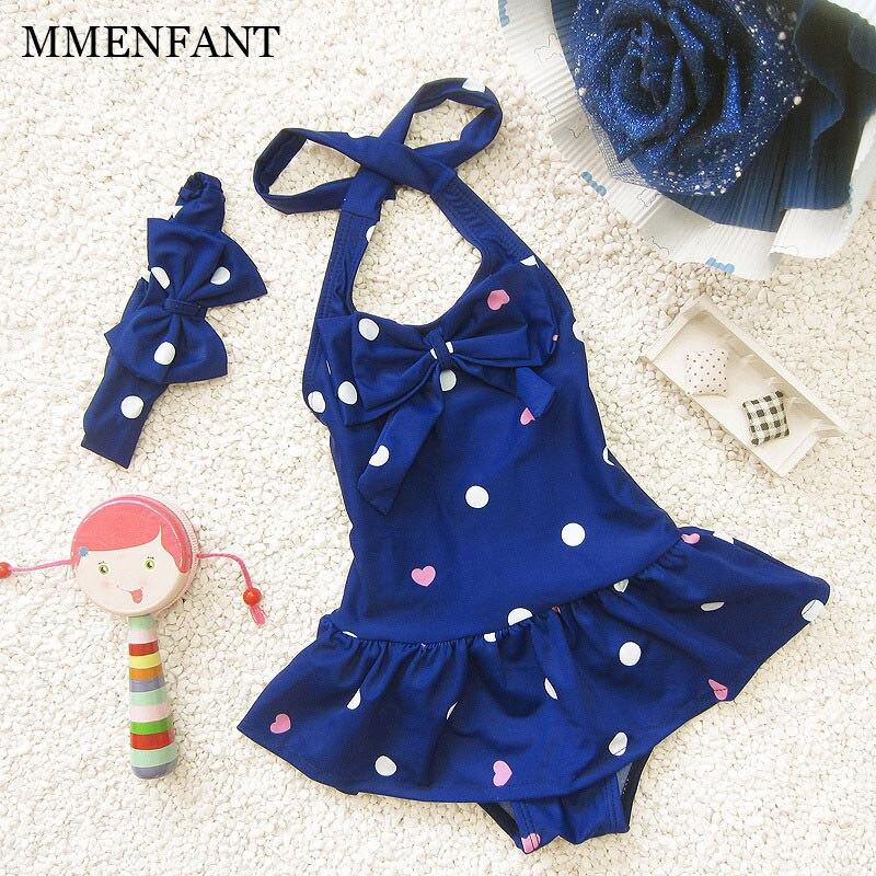 Baby Girls Swimwear Summer Girl One Piece Dot Pattern With -1304