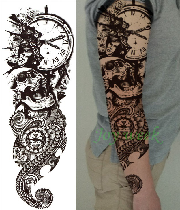 How To Make Money To Travel Temping: Waterproof Temporary Tattoo Sticker Full Arm Large Skull