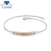 Elegent Design Real 14K White Gold Yellow Sapphire Bracelet Loving Diamond Jewelry For Wife Birthday Wholesale