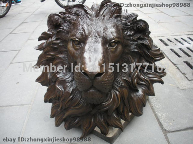 Wall hanging Pure Bronze HSBC Lions Head Wall Hang Family Decor Art Sculpture Garden Decoration Finish Healing statue