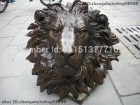 Wall hanging Pure Bronze HSBC Lions Head Wall Hang Family Decor Art Sculpture Garden Decoration Finish Healing statue