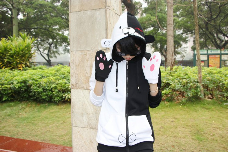 danganronpa cosplay spring and autumn  thin fleece Costume Anime Role Cute Bear Hoodie Jacket Cotton Coat With Gloves Unisex