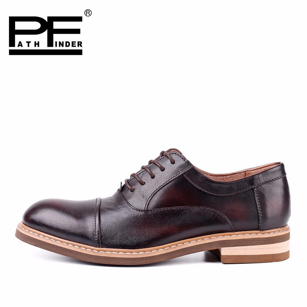 Pathfinder 2016 Fashion 100% Genuine Leather Men Dress Shoes Luxury Men's Business Casual Shoes Classic Gentleman Shoes Brand