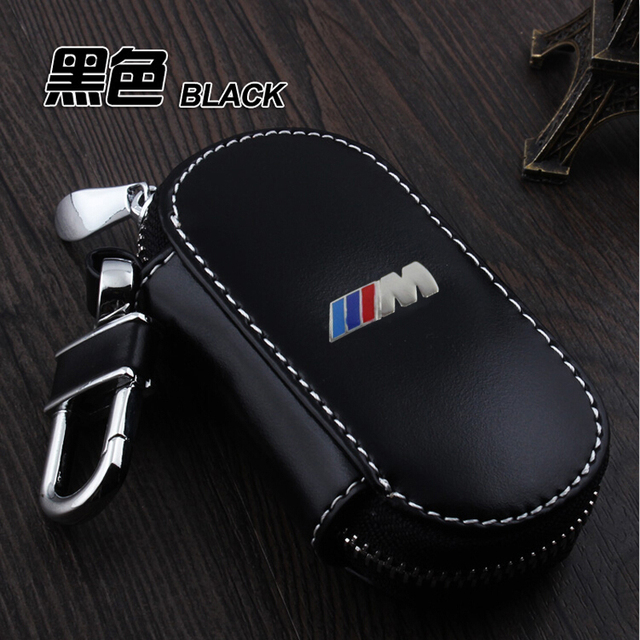 Genuine Leather Car Key Case Fob Cover Fits for BMW Series 520 GT New 1 3 7 Series X3 Smart Remote Alloy Key Rings Car Keychain