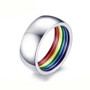 Кольцо из нержавеющей стали eamaor, модное, индивидуальное, ЛГБТ, Радужное, чистое, белое, для геев, в европейском и американском стиле