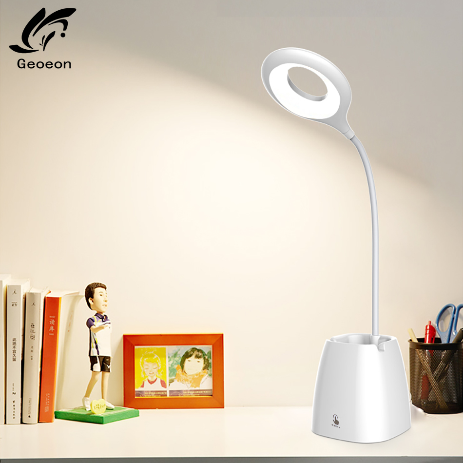 Geoeon Multifunction LED 3.7V Desk Lamp Touch Switch USB Pen Holder Adjustable Table Lamp Read Night Light A38
