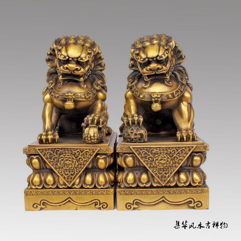 Large Pair Bronze Chinese Lion Foo Dog Statue Figure Sculpture Black 10H vases sculpture, Garden Decoration Brass Bronze