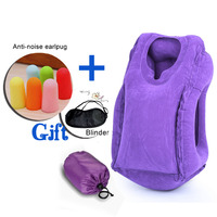 1pc Travel Pillow Soft Air Inflatable Neck Pillow Cushion With Goggles Earplugs Gift Airplane Traveling Car