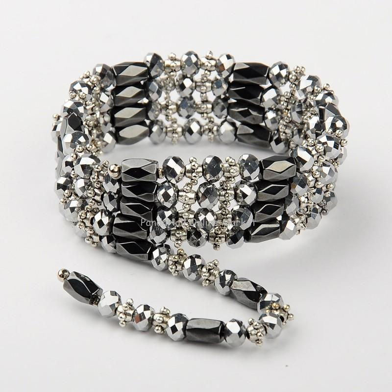 Magnetic Hematite Wrap Bracelets Necklaces, with Abacus Glass Beads and Tibetan Style Beads, Silver, 800~820mm