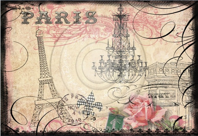 7x5FT Vintage Retro Paris Eiffel Tower Stamp Flowers Custom Photo Studio Backdrop Background Vinyl 220cm X