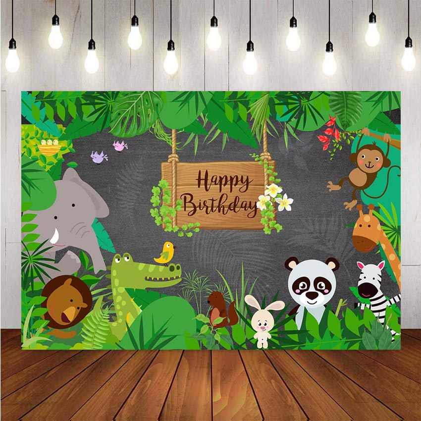 LB Forest Safari Backdrops for Photography 7x5ft Jungle Animals Spring Green Tree Flowers Background Kids Children Birthday Party Banner Portrait Photo Studio Shooting Props CL1144
