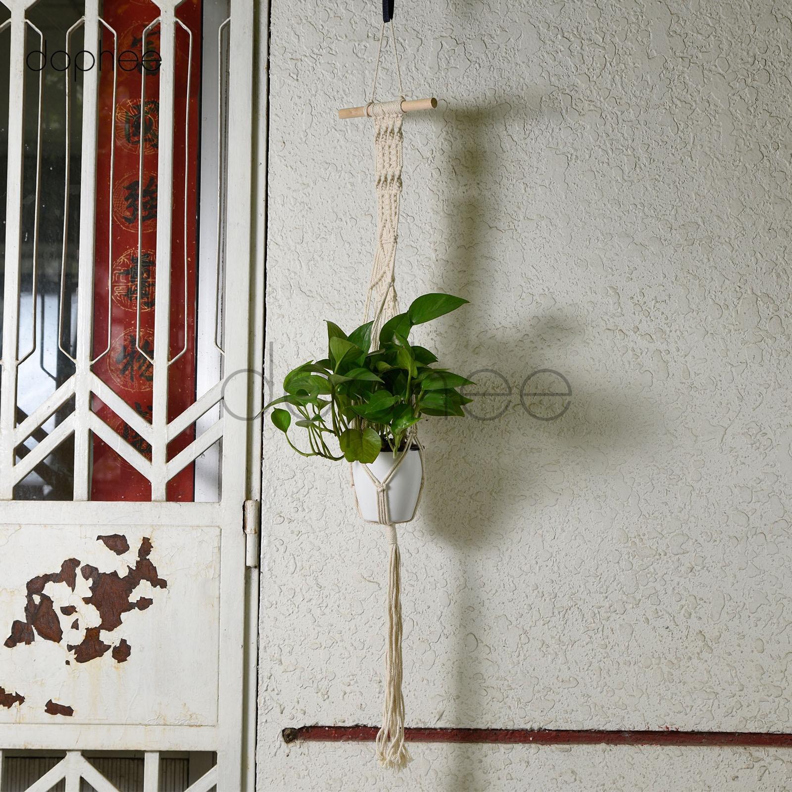 Dophee 1Pcs 100% Cotton Rope Macrame Plant Hanger Vintage Basket