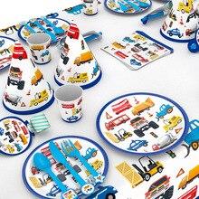 Строительные грузовики, инженерные автомобили, вечерние одноразовые столовые приборы, набор тарелок, соломенные украшения для дня рождения, украшения для детского торта