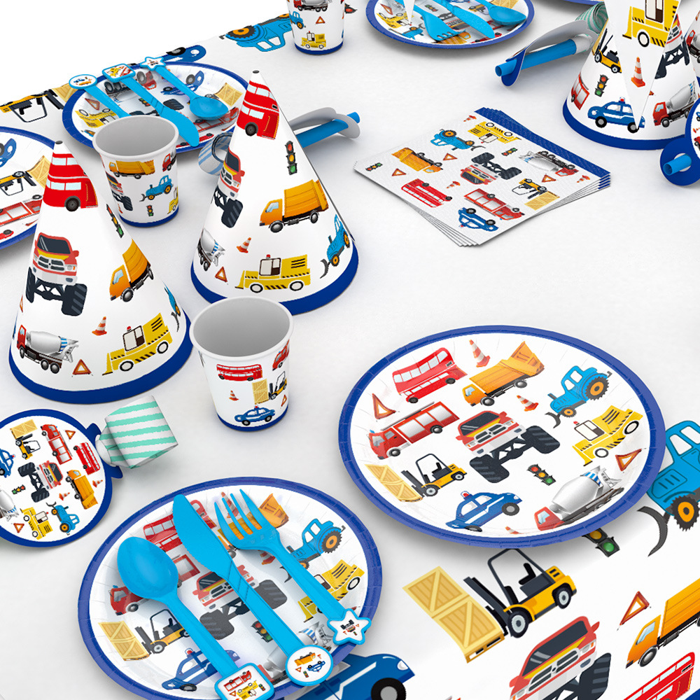 Construction Trucks Engineering Cars Party Disposable Tableware Set Plate Straw Birthday Party Decorations Kids Cake Decor