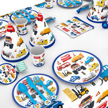 Construction Trucks Engineering Cars Party Disposable Tableware Set Plate Straw Birthday Party Decorations Kids Cake Decor(China)