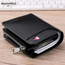 MartinPOLO Leather Wallet Men Genuine Purse With Card Holder Zipper Wallets Luxury Short Casual Brieftasche MP1003