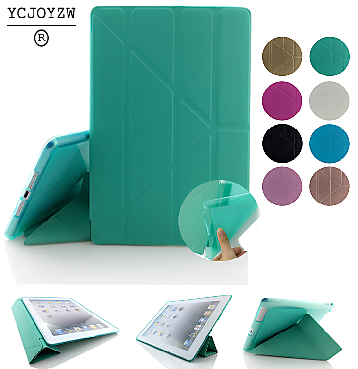YCJOYZW-case For Ipad 4 3 2 Shapes Stand Smart TPU Soft Case PU Leather Cover :A1460`A1459`A1458`A1416`A1430`A1403`A1395`A1396 for ipad mini4 cover high quality soft tpu rubber back case for ipad mini 4 silicone back cover semi transparent case shell skin